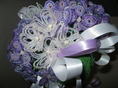 Hydrangea beaded flower bridal bouquet. $100.00, via Etsy.