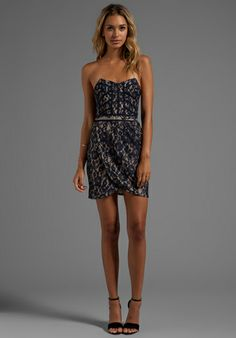 FINDERS KEEPERS Somerset Dress in Navy - Finders Keepers