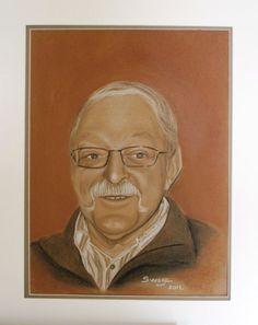 L'homme à la moustache - Swaze, peintre pastelliste Pastel