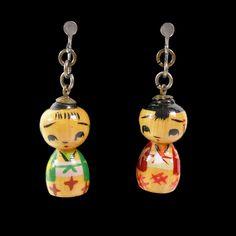 Vintage Japanese Kokeshi Doll Mamasan and Papasan Earrings