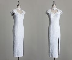 Lace Wedding Dress 1990s Vintage White Lace BodyCon by decades, $94.00