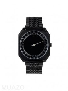 Slow JO 24 Hour One Hand Watch Black Dial Black Steel Band