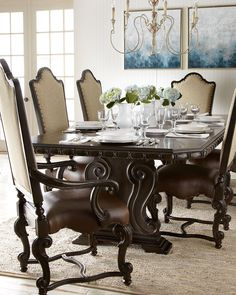 Shop Perona Dining Room Furniture at Horchow, where you'll find new lower shipping on hundreds of home furnishings and gifts. Dining Nook, Dining Room Design, Dining Room Table, Dining Chairs, Dining Set, Fine Dining, Side Chairs, Georgian Furniture, Dining Room Furniture