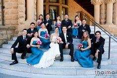 Picture of bridal party at step of Stanford University