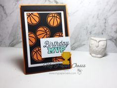 Basketball For the Win - My Paper Oasis - Mel Pagano Stampin Up Independent Demonstrator Berwick Victoria Australia Basketball Birthday Cards, Birthday Cards For Boys, Masculine Birthday Cards, Sports Birthday, Basketball Cards, Basketball Players, Birthday Ideas, Kentucky Basketball, Duke Basketball