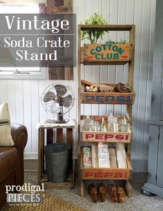 Reclaimed Vintage Soda Crate Stand by Prodigal Pieces Diy Furniture Projects, Furniture Makeover, Diy Projects, Recycled Furniture, Vintage Crates, Vintage Decor, Retro Vintage, Coke Crate Ideas, Farmers Market Display