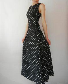 Vintage Polka Dot Maxi Dress Size XSSmall by littleraisinvintage, $26.00