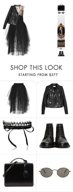 """""""#606"""" by ginadav ❤ liked on Polyvore featuring Lanvin, Elie Saab, Yves Saint Laurent, Fallon, Mark Cross and Oliver Peoples"""