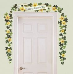 Happy St Patricks Day Banner Shamrock Flower Decorations USE YEAR AFTER YEAR New