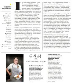 LOCALE Magazine Feature: Colette's Catering & Events 'Meals Deconstructed'  | Cioppino Article -Chef  Q&A