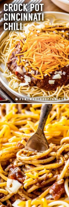 "Crock Pot Cincinnati Chili! An Ohio-favorite dish gets the crock pot treatment with this Skyline Chili copycat recipe. Eat like a Cincinnatian with a chili made with hints of cinnamon and chocolate (that's NOT sweet!) and serve it like the locals do using the authentic ""ways:"" two-way, three-way, four-way, or five-way. 