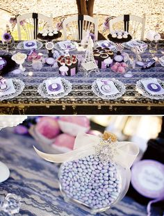 Such a pretty Paris inspired tablescape. Love the doilies used as place mats and the using of fun boxes to put sweets on!