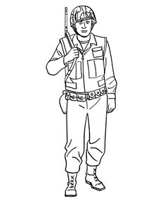 Armed Forces Day Coloring Pages - US Army Soldier - World War II coloring sheets. Boy Coloring, Coloring Pages For Boys, Online Coloring Pages, Animal Coloring Pages, Coloring Sheets, Colouring, Free Coloring, Army Drawing, Soldier Drawing