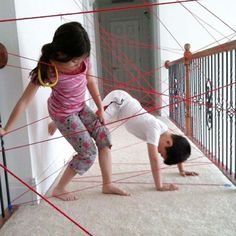 21.) Got yarn? Let kids crawl through a safe playground you create.