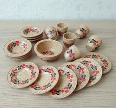 Vintage 70s wooden Toy Kitchenware in Khokhloma style Made