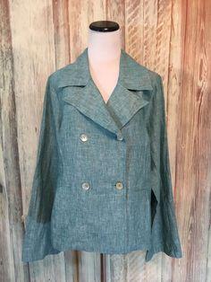 Bryn Walker Linen Jacket Blazer Green Teal Double Breasted Button sz M  EUC! #BrynWalker #Blazer