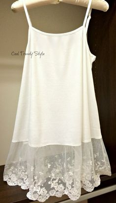 We ship lightning FAST! This is a Cotton Tank with Lovely Lace bottom detail in color OFF WHITE or Light Grey  Our Newest, HIGHEST QUALITY Lace Extender Tank Top-Camisole is now available. We hand make them from camisole tops and 8 long lace sewn together on Baby Lock Sewing Machines. SIZE: S, M, L Womens/Teen Fabric: 65% Cotton 25% Polyester 5% Lycra Adjustable Straps to make the top shorter or longer THESE are A shape tank tops. They are NOT TIGHT at the hips..they are VERY flattering ...