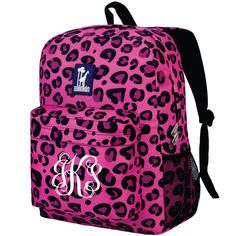 Monogram Backpack and Lunch Bag Set - Wildkin - Personalized - Pink Leopard - Back to School Crackerjack by DesignsbyDaffy on Etsy