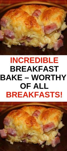 Incredible Breakfast Bake My husband is also pretty partial to Bakes as his . - Incredible Breakfast Bake My husband is also pretty partial to Bakes as his mother used to make - Breakfast And Brunch, Baked Breakfast Recipes, Breakfast Items, Breakfast Bake, Breakfast Dishes, Easy Brunch Recipes, Breakfast Ideas With Eggs, Easy Breakfast Casserole Recipes, Breakfast Casserole With Biscuits