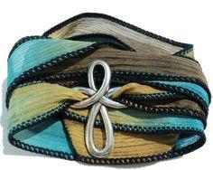 Bohemian Cross Silk Wrap Bracelet Faith Yoga Jewelry Necklace Spiritual Gift For Christmas Stocking Stuffer Item M50 Bohemian Earth Designs