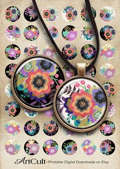 """LITTLE GARDEN - Printable Download 1"""" and 1.5"""" size digital collage sheets for pendants. These are self-print digital files. INSTANT DOWNLOAD!"""