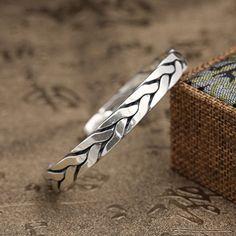 Men's Sterling Silver Heavy Braided Cuff Bracelet
