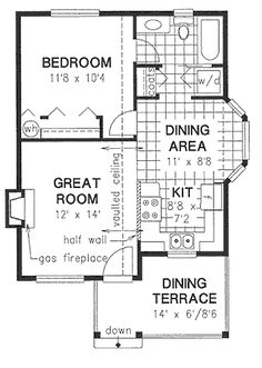 A 1 Bedroom, 1 Bath House Plan. Tiny House Cabin, Small House Plans, Tiny House Living, Tiny House Design, House Floor Plans, Apartment Floor Plans, Country House Plans, Modern House Plans, Small Cottages