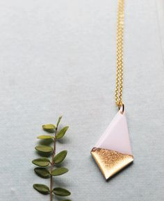 white and gold necklace long gold necklace stylish necklace gold dipped necklace geometric pendant necklace  minimalist jewelry gift for her