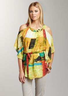 Madison Piage- yellow multi cold shoulder belted tunic