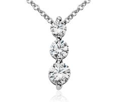 Three-Stone Drop Diamond Pendant in 18k White Gold | #Jewelry #Sparkle #Style