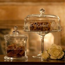 Vintage Script Glass Dome Wedding Cupcake Domed Muffin Cup Cake Plate Stand