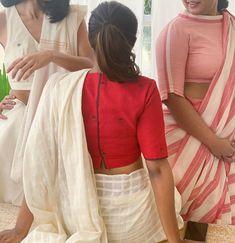 Kerala Saree Blouse Designs, Cotton Saree Blouse Designs, Saree Blouse Patterns, Blouse Neck Designs, Skirt Patterns, Coat Patterns, Sewing Patterns, Trendy Sarees, Stylish Sarees