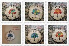 Resultado de imagen para macetas en pasta piedra Pasta Piedra, Pot Holders, Decoupage, Pottery, Christmas Ornaments, Holiday Decor, Paper, Crafts, Google