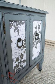 putting wrapping paper on furniture, decoupage, painted furniture