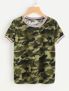 Shop Striped Trim Camo Tee online. SheIn offers Striped Trim Camo Tee & more to fit your fashionable needs.
