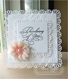 I just love white on white cards and this one makes me happy. If memory serves me correctly (and that can be a big if some days LOL) A...