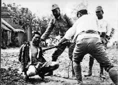 There are several accounts of the Japanese troops using civilians and prisoners of war for bayonet practice, sometimes as an initiation rite for new recruits. Probably Singapore, 1942. WW II