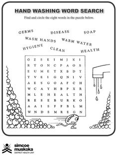 free printable word searches or crossword puzzles about hygiene - Google Search