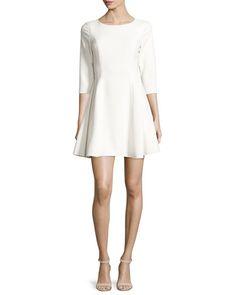 3/4-Sleeve Jewel-Neck Fit-&-Flare Dress white