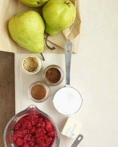 Baked Pears with Raspberry Sauce