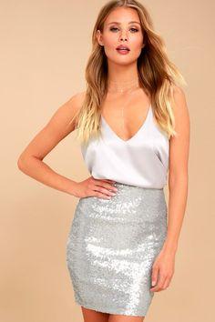 7b46570dc2669 Love Me Now Matte Silver Sequin Bodycon Mini Skirt