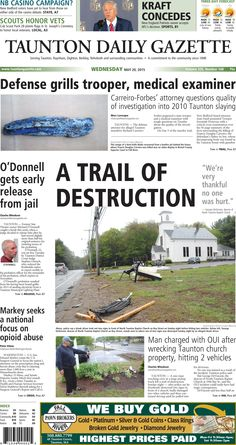 The front page of the Taunton Daily Gazette for Wednesday, May 20, 2015.