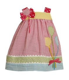 Bonnie Jean Toddler Balloon Gingham Printed Seersucker Dress