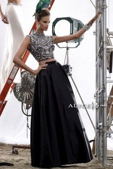 Claudine | Prom Dress Style #2434 black two piece prom dress with detailed beaded bodice