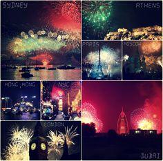 New Year's Eve all over the world   #nye #newyear  #nyc #newyork #paris #france #australia #uae #uk #london #ldn #china #russia