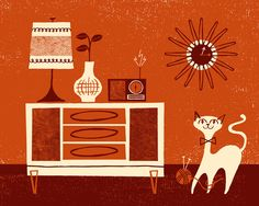 Mid century furnishings with cat
