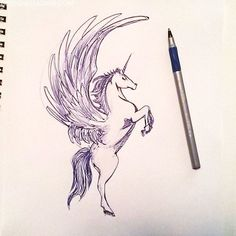 I've suddenly come to the conclusion that Unicorns are kind of badass. A horse is a powerful beast, an eagle or whatever gives a Pegasus it's wings is a powerful beast, and the horn is a badass weapon, plus whatever magical powers they come with. So now I've been sketching winged unicorns, they'll probably pop …