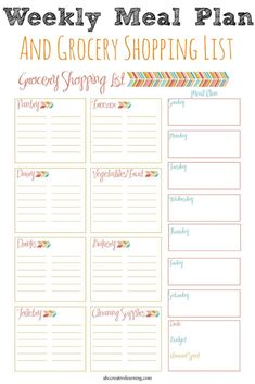 Meal Planner and Grocery Shopping List A Free Weekly Meal Planner and Grocery Shopping List Printable! Perfect for keeping you organized! - A Free Weekly Meal Planner and Grocery Shopping List Printable! Perfect for keeping you organized!