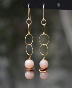 """Long dangly gold-filled earrings with peach moonstones. 2""""long. Match with necklace!"""