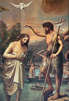 John the Baptist and Jesus Jesus Son Of God, Jesus Mother, Christian Artwork, Christian Images, Religious Paintings, Religious Art, Catholic Art, Catholic Saints, Image Jesus
